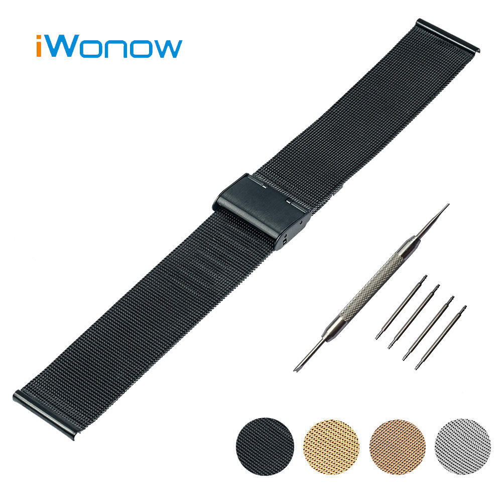 Stainless Steel Watch Band 16mm 18mm 20mm 22mm 24mm Armani Hook Buckle Strap Wrist Belt Bracelet + Tool Spring Bar - Udemand Tech Limited store