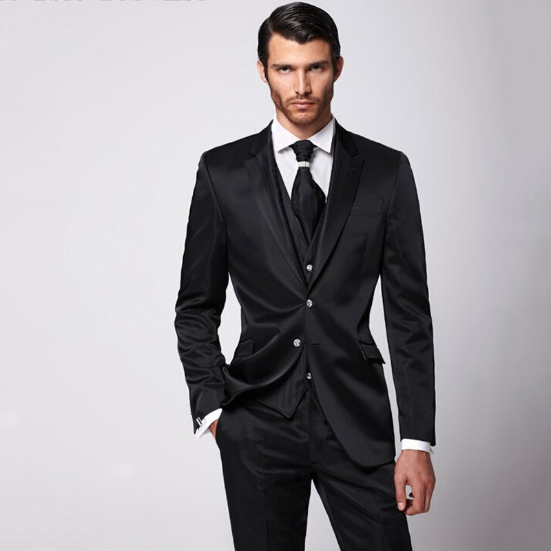 Custom Black Satin Men Classic Suits For Wedding Suits Evening Party Groom Tuxedos Slim Fit Terno Masculino Blazer Suits 3Pieces