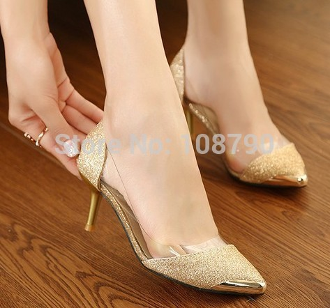 378d7a3ca2e 2014 Summer Sexy Gold Mid Heel Pointed Toe Red Bottoms High Heels Women  Pumps Glitter Wedding Shoes Bling Party Shoes Woman