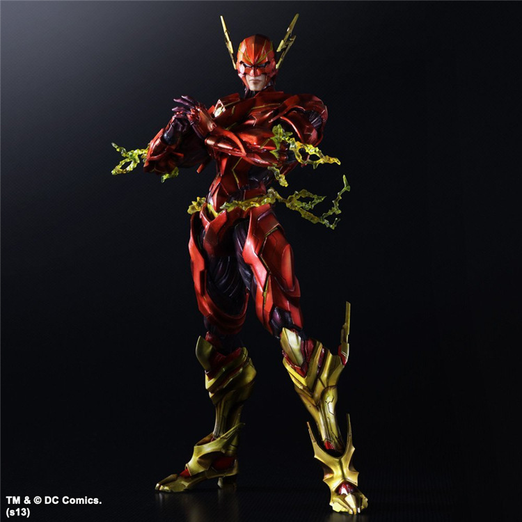 Play Arts Kai Flash Action Figures The Flash Armor Ver NO 4 PVC Toys 270mm Movie Model Heavily-armored Barry Allen Playarts Kai dc comics superman green lantern the flash the atom black canary pvc action figures collection model toys 15pieces set