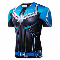 2019 nouveau Marvel Captain America Superman chemise de Compression 3D imprimé T-shirts hommes t-shirt à manches courtes Halloween Cosplay Costume