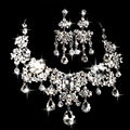 Bride Necklace Earrings Two Sets  Crystal  Flower New jewelry Wedding Jewelry