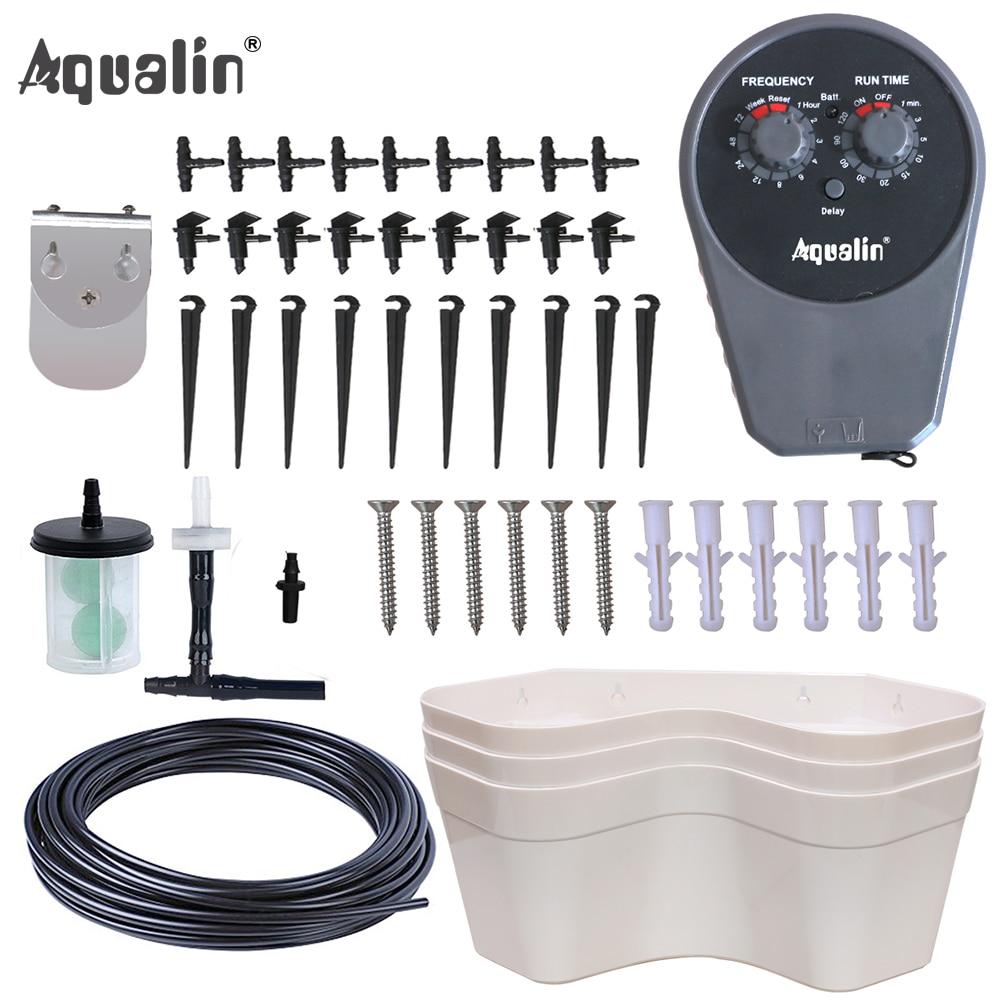 Aqualin Jardin Pompe Irrigation Goutte À Goutte Ensemble avec 3 Portable Fleurs Pots Bonsaï Jardin de L'eau D'arrosage Kit # 22077I