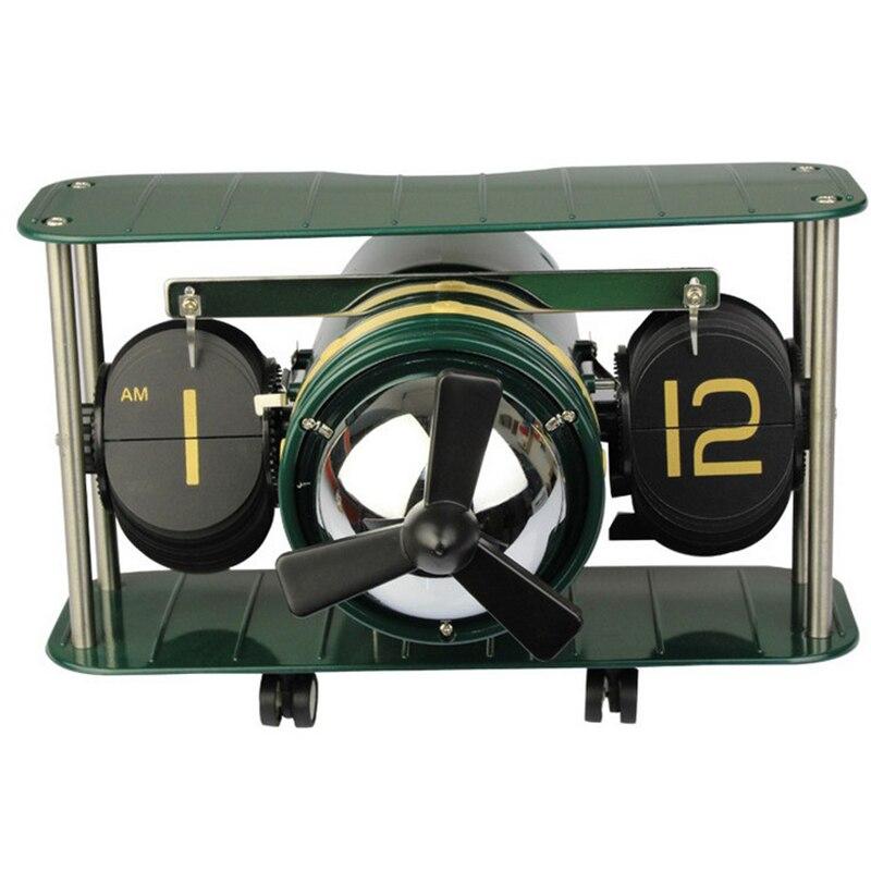 Horloge de Table horloge à bascule Pages automatiques métal Silence Quartz rétro hélice avion 2 Pages nombre affichage créatif bureau horloge mur