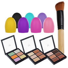 T2N2 6 Colors Natural  Long Lasting Waterproof 3D Concealer Makeup Powder Palette + Foundation Brush + Brush Egg Tool
