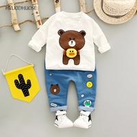HYLKIDHUOSE 2017 Autumn Baby Girls Boys Clothes Sets Infant Cotton Suits Casual Style Cartoon Kids T