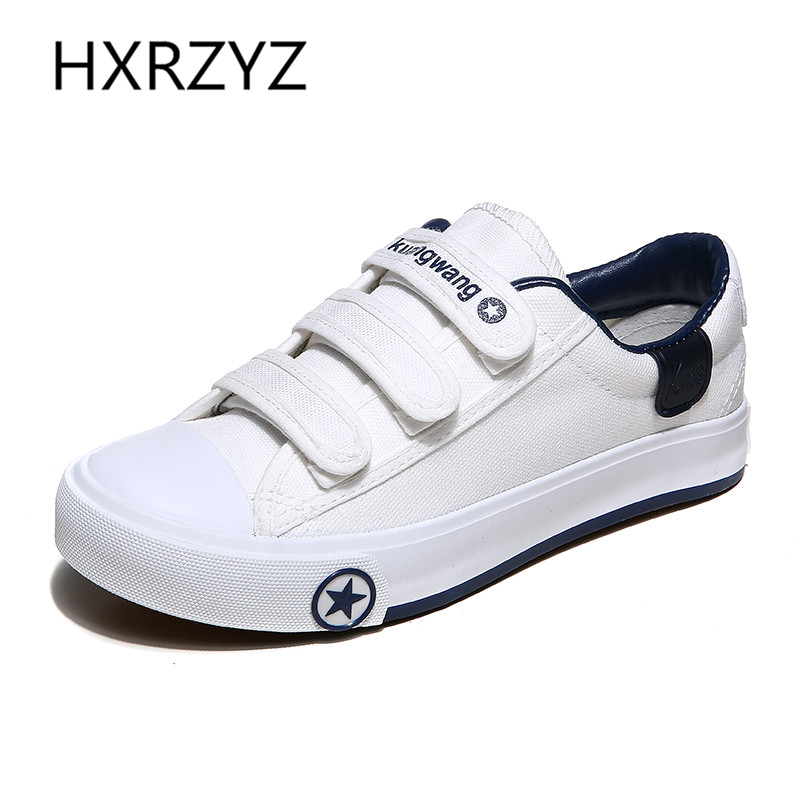 Woman Summer Autumn Shoes Fashion Women Casual Shoes Zapatos Mujer Flats Hook loop Leisure White Canvas