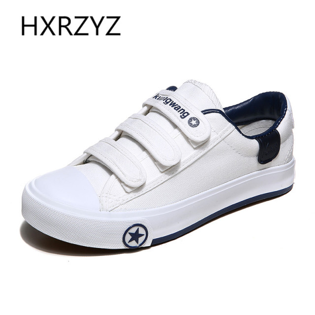 Woman Summer Autumn Shoes Fashion Women Casual Shoes Zapatos Mujer Flats Hook&loop Leisure White Canvas Shoes Sapatos Femininos