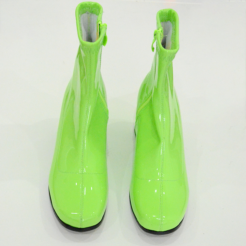 รองเท้าผู้หญิงรองเท้าแฟชั่นส้นสูงข้อเท้ารองเท้าส้นสีขาวสีเขียวสิทธิบัตรรองเท้าผู้หญิงหนังซิปสแควร์ Toe Jelly รองเท้า-ใน รองเท้าบูทหุ้มข้อ จาก รองเท้า บน   2