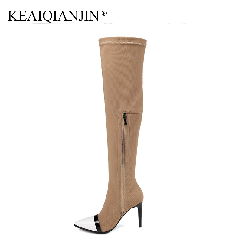 KEAIQIANJIN Woman Pointed Toe Knee High Boots Autumn Winter High Heeled Shoes Plus Size 34 - 43 Genuine Leather Knee High Boots цена