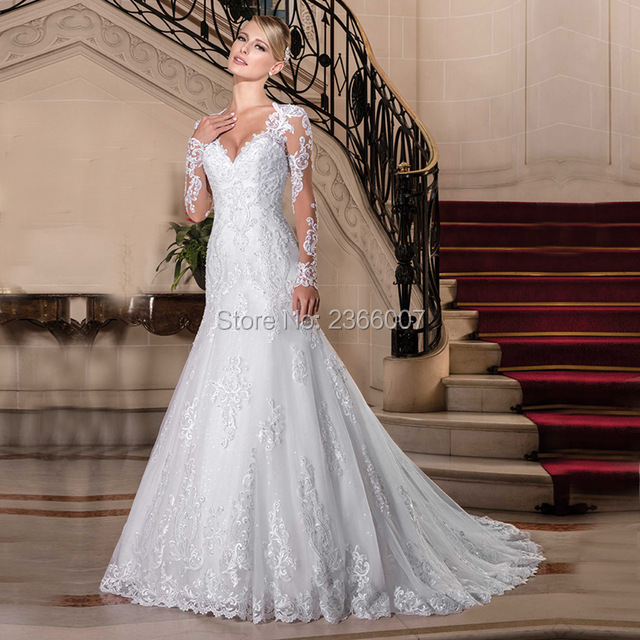 Vestido De Noiva Princesa Maniche Lunghe Sirena Abiti Da Sposa 2018 Appliques Del Merletto Perle Abiti Da Sposa Custom Made vestito Da Sposa