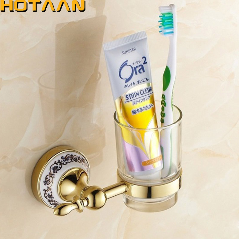 Wall mounted Golden Ceramic Bathroom Accessories Single Cup Tumbler Holders,Toothbrush Cup Holders Free Shipping YT-11897G bosch pws 750 125 06033a2422
