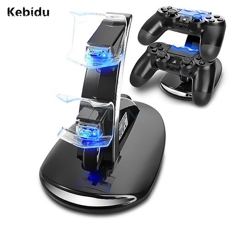 Kebidu Newest Dual Controllers Charger Charging Dock Stand Station For Sony PlayStation 4 PS4 Gaming Wireless Controller Console