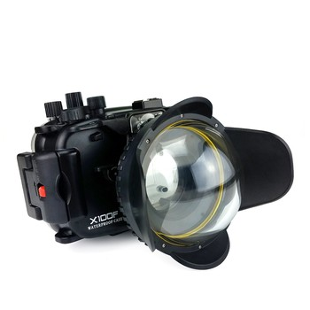 Seafrogs 40m/130ft Underwater Camera Housing Case For Fujifilm X100F Camera+MEIKON 67mm Fisheye Lens -Round