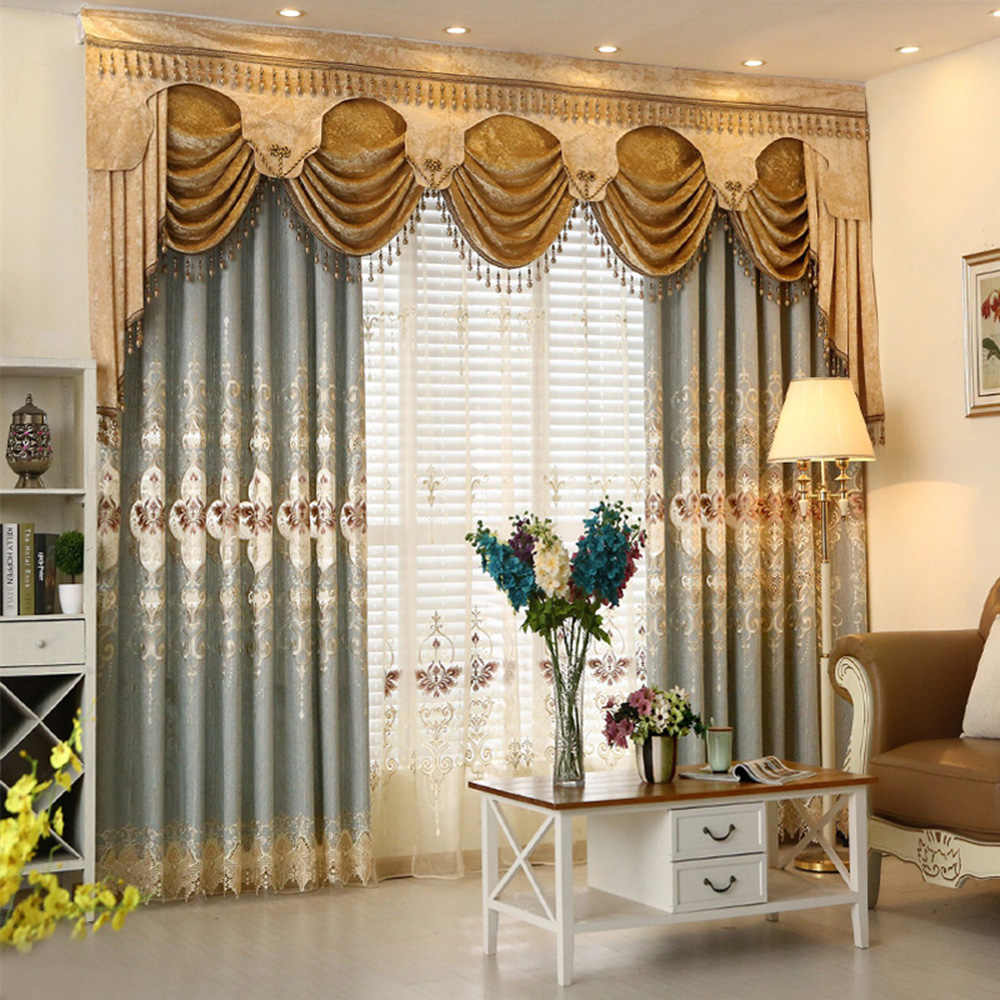 Luxury European Chenille Water Soluble Embroidery Blackout Curtains Bedroom Living Room Luxury Sheer Finished Curtains M037-40