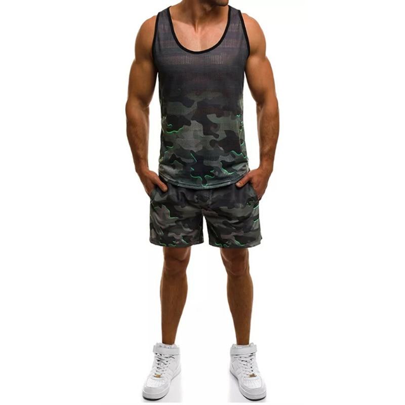 Summer Hot Men's Suit Vest + Pants Two Sets Of Casual Sportswear Men's Vests Hip Hop Gym Fitness Pants Camouflage