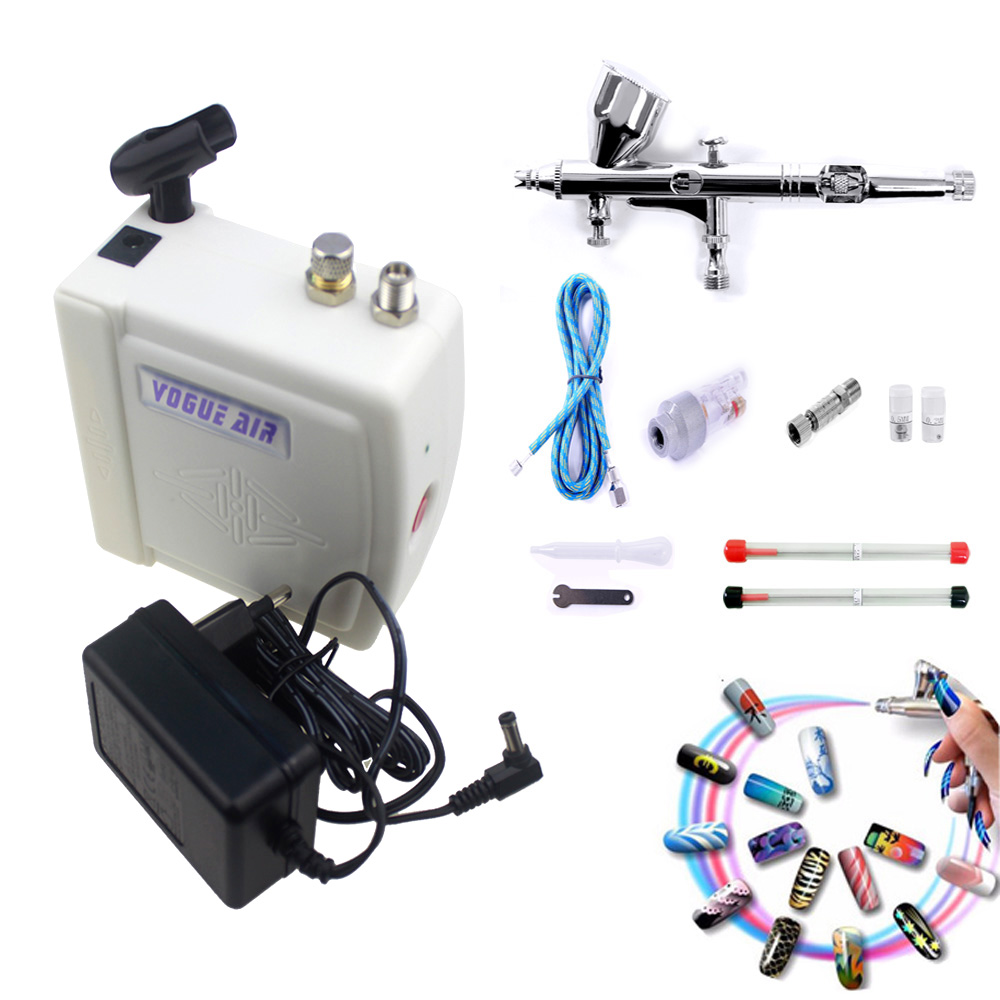 Mini Dual Action Airbrush Kit Compressor 12v Air Brush Gun For Body Painting Makeup Nail Art Tool Set Cake Car Spray Model Craft цена