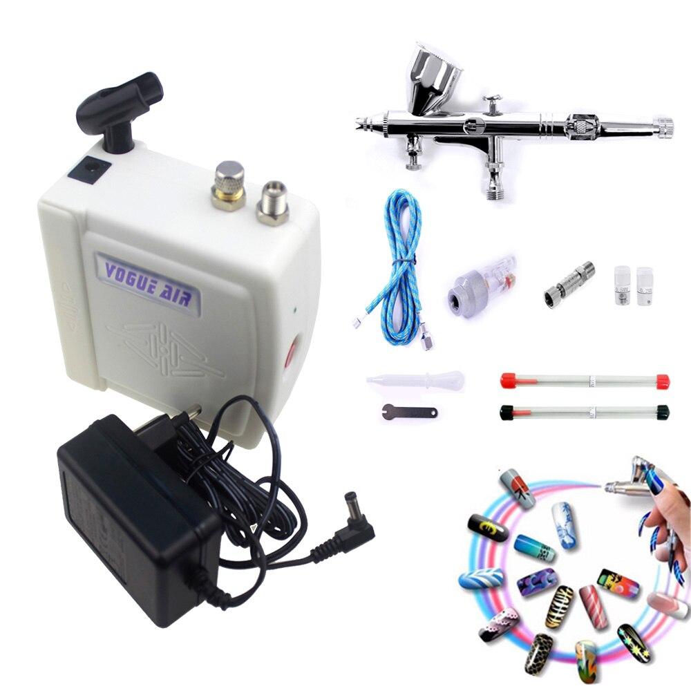 Mini dupla a o airbrush kit compressor 12v pistola de escova de ar para o corpo