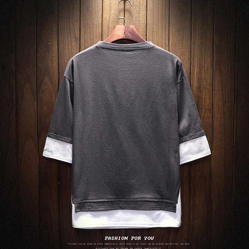 2018 Zomer Heren Nieuwe Nep Twee Mannen T shirt Casual Ronde Hals Mens T shirt Mode Tij Merk mannen effen Kleur Man t-shirt
