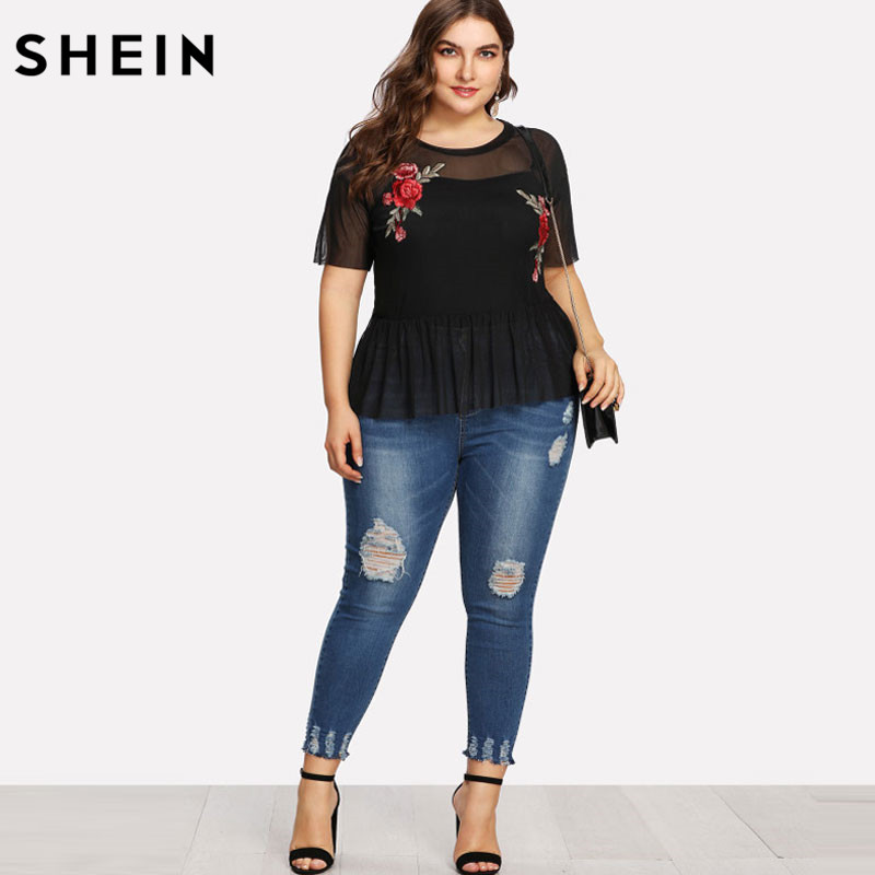 SHEIN Plus Size Summer Black Blouse Women Sexy Floral Round Neck Short Sleeve Embroidered Rose Applique Ruffle Mesh Slim Top 3