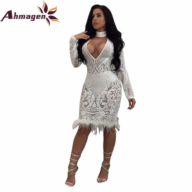Ahmagen Autumn Winter White Long Sleeve Sequin Dress 2018 Sexy Halter Deep  V Neck Bodycon Lace Party Dresses Nightclub Vestidos 19855b7b5af2