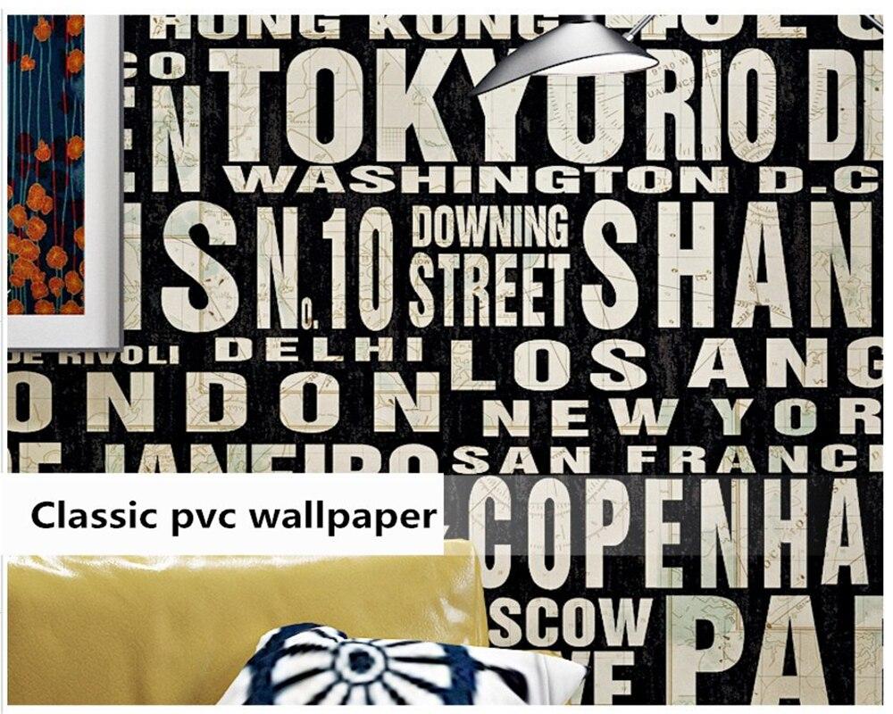 Beibehang rétro 3D stéréo nostalgique anglais alphabet barbier bar industriel vent vêtements magasin papel de parede 3d papier peint