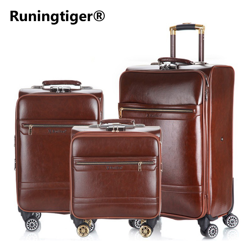 Men's and women's travel luggage Waterproof PU suitcase 16 20 24 Leather Travel Case Pulley Cart Vintage Rolling Suitcase vintage suitcase 20 26 pu leather travel suitcase scratch resistant rolling luggage bags suitcase with tsa lock