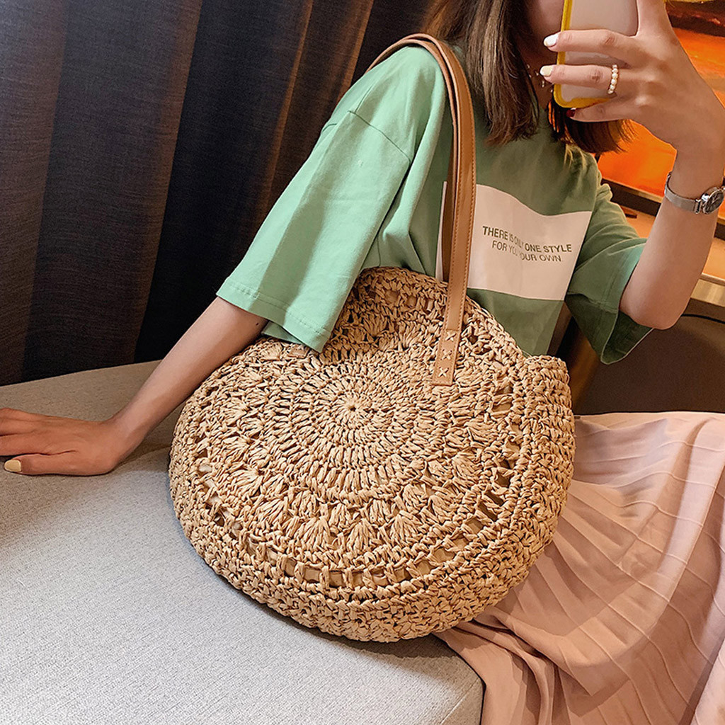 Beach Handbags Rattan-Bag Crossbody-Bags Messenger Woven Round Small Hollow Straw YJJ1 title=