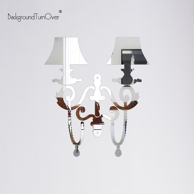 Creative Pendant Lamp Decorative 3d Acrylic Mirror Wall Stickers Living Room Home Bedroom Decor Room Door Decoration Poster R040