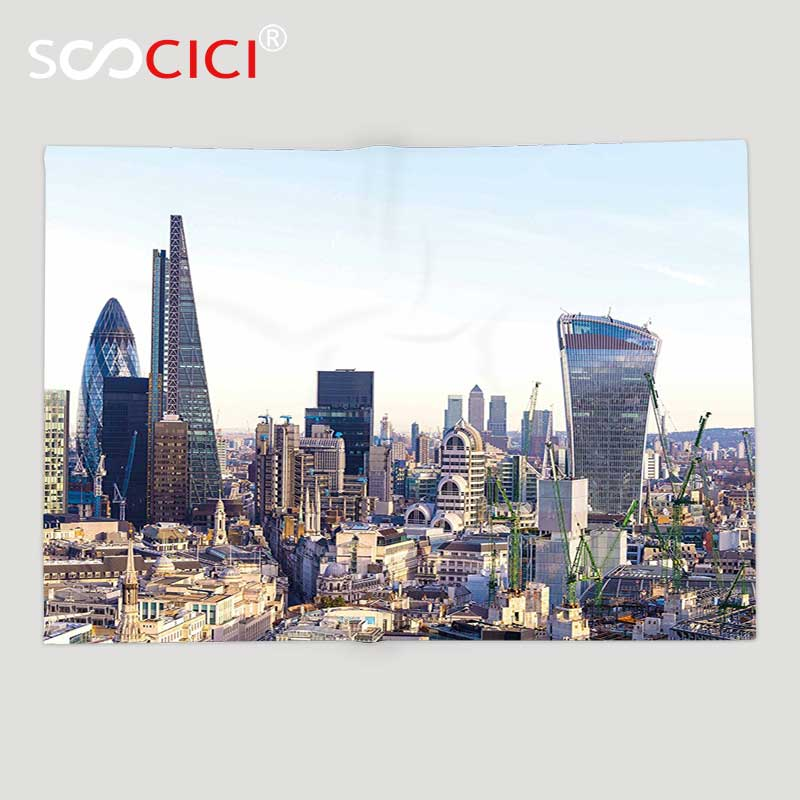 Custom Soft Fleece Throw Blanket Cityscape Aerial London View with Skyscrapers British T ...