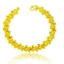 Женский желтый золотистый браслет красивый на запястье с цепочкой