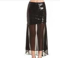FFTAIQI אופנה חדשה אביב הקיץ סקסי פאייטים שיפון טלאים שקופים נשים אלגנטי חצאית גבוהה מותן חצאיות ארוכות אישה