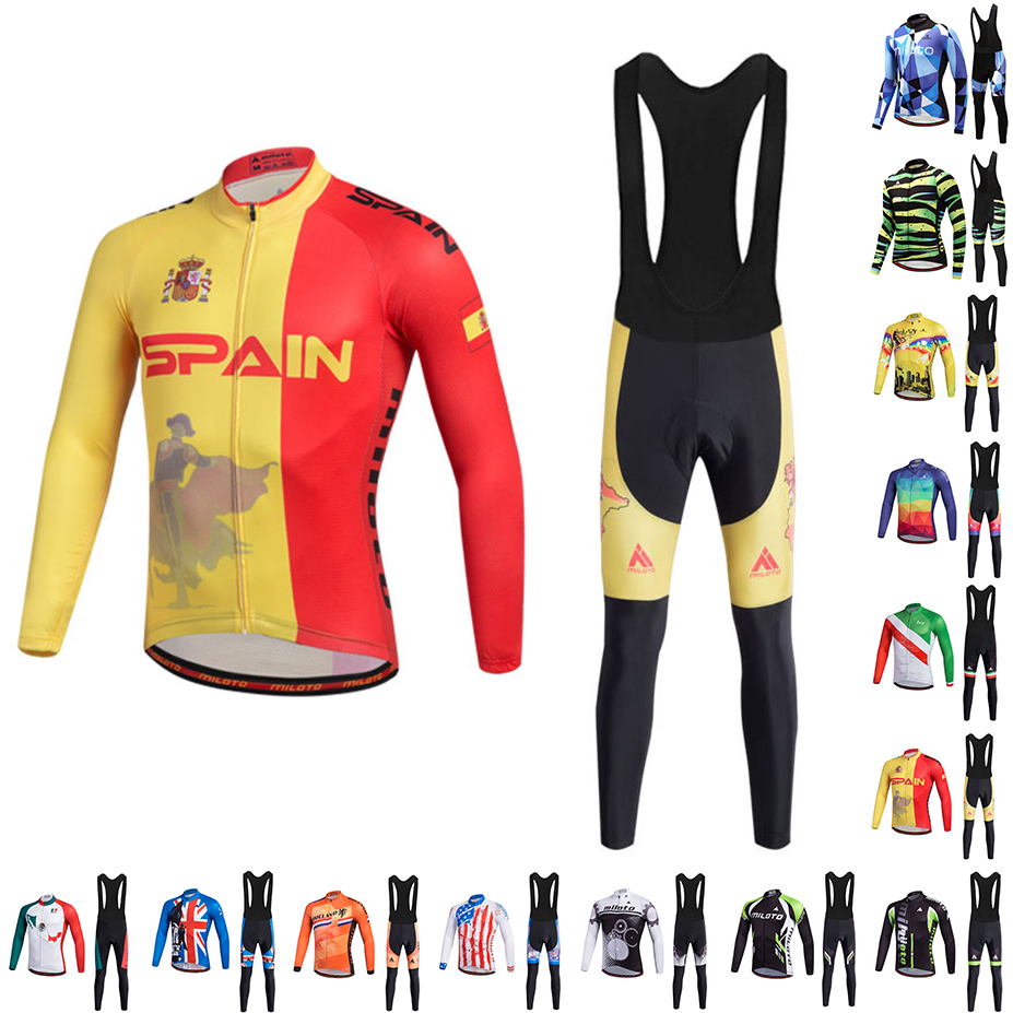 MILOTO 2018 NEW Team Long Ropa Ciclismo Cycling Jerseys sets Autumn Mountian Bicycle Clothing MTB Bike