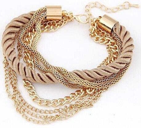 New Bohemia Gold Color Rope Weave Tassel Bracelets Charm Multilayer Bracelets Bangles Statement Bangle Bracelet For Women