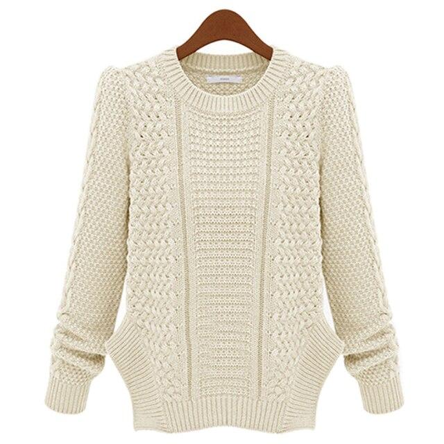 New Autumn Winter Women Twist Knitted Sweater Round Neck Long ...