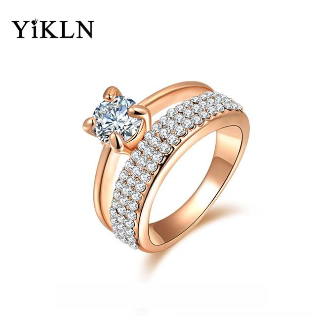 Yikln ювелирные изделия кольца золотой цвет anillos обручальные кольца австрийский хрусталь окружающей среды micro-ввел ювелирные изделия R150290250R