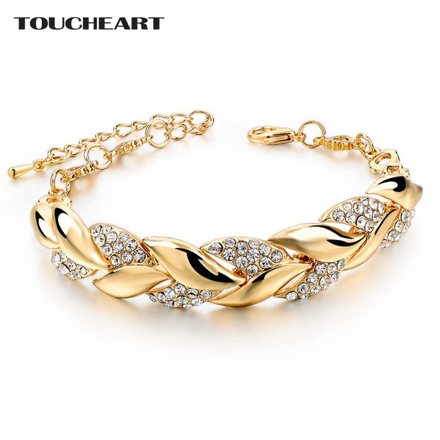 TOUCHEART Braided Gold Leaf Bracelets & Bangles With Stones Luxury Crystal Bracelets For Women Wedding Jewelry Sbr140296