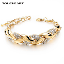 TOUCHEART Braided Gold color Leaf font b Bracelets b font Bangles With Stones Luxury Crystal font
