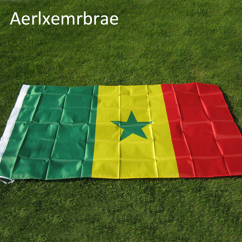 free shipping aerlxemrbrae flag Senegal flag 3x5 Feet Super Poly football FLAG Indoor Ou ...