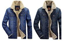 New mens jacket jeans jacket with padded male cashmere thickening