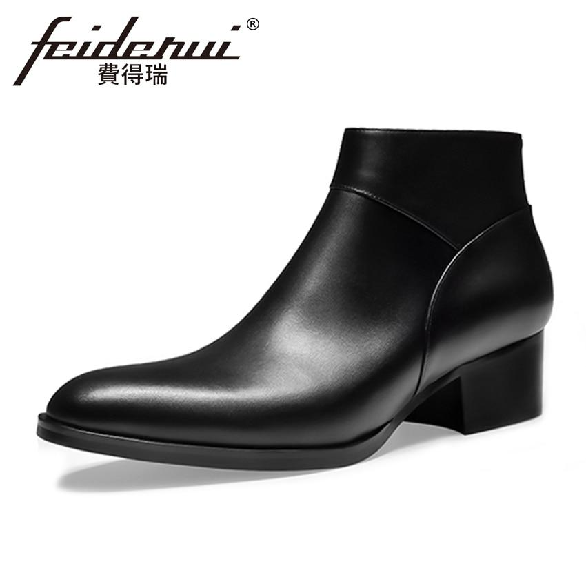 купить Spring Autumn Genuine Leather Men's Formal High-Top Ankle Boots Pointed Toe High Heels Handmade Man Cowboy Martin Shoes HQS229 недорого