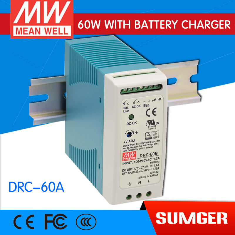 [Sumger2] MEAN WELL original DRC-60A 13.8V meanwell DRC-60 59.34W Single Output with Battery Charger (UPS Function) импульсный блок питания mean well 100 100w 12v drc 100a