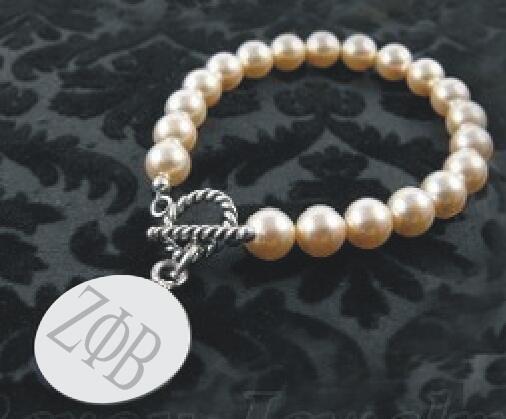 ZETA PHI BETA Sorority letters pearl bracelet ZPB charm bracelet