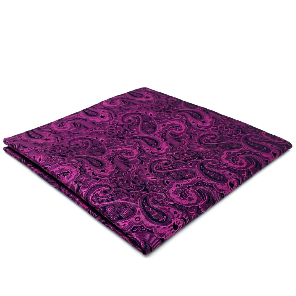 EH15 Purple Paisley Mens Pocket Square Silk Wedding Handkerchief Classic