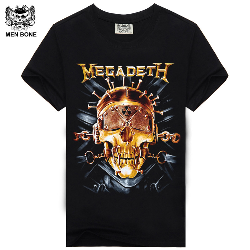 [Men bone] Men   T     Shirt   Black   T  -  Shirt   Tshirt Men's   Shirt   Cotton Megadeth Skull Print Heavy Metal Hip Hop Rock Summer Style Tee