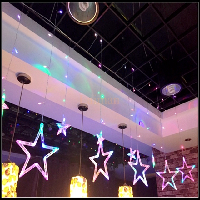 ac220v curtain star string lights christmas new year decoration christmas led lights whitewarm white