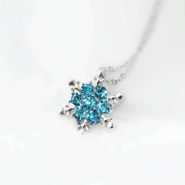 x24 Fashion Jewelry Shiny Blue Crystal Rhinestone Pendant Necklace Beautiful Snowflake Flower Necklace For Women Wedding Jewelry