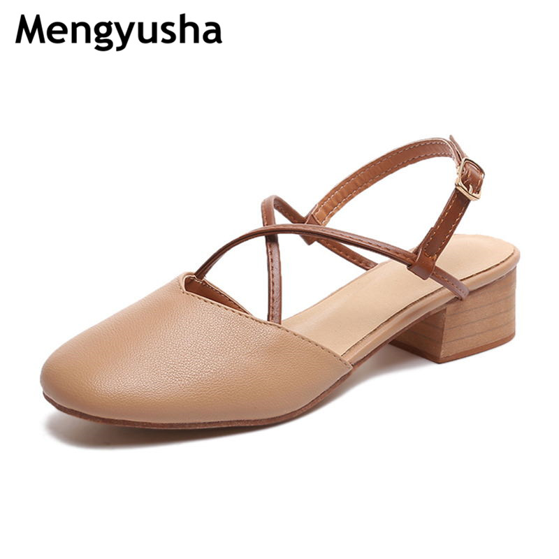2018 summer new style grandma shoes with retro square head cross female shoes baotou shoes female summer thick with high heels