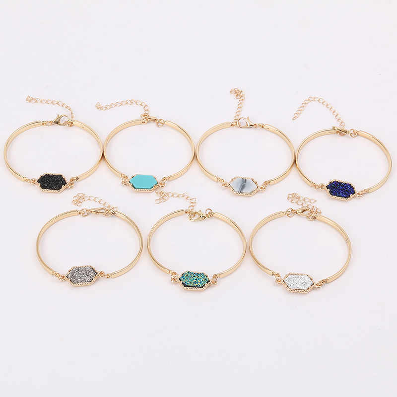Wholesale Brand Gold Silver Oval Resin Druzy Bracelets for Women Friendship Quartze Charm Bracelet Bangles Fashion Jewelry 2018