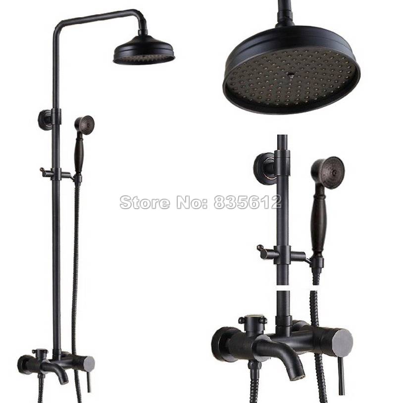 Black Oil Rubbed Bronze Wall Mounted Bathroom Rain Shower Faucet Set with Handheld Shower + Bathtub Mixer Tap Wrs342